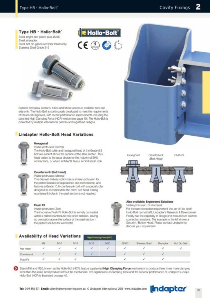 Hollo Bolts - Lindapter Distributor - CBW Engineering